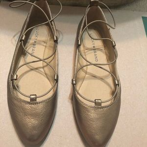 Bronze strappy flats Nwot
